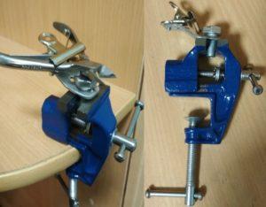 Тиски с дополнительным зажимом для удержания инструмента